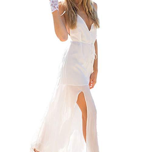 FWJ-clothes Damen Sleeveless V-Ausschnitt Langes Kleid Womens Sling Sexy Splitting Unregelmäßige Sommerkleid Beach Vacation Party Brautkleid,White,L