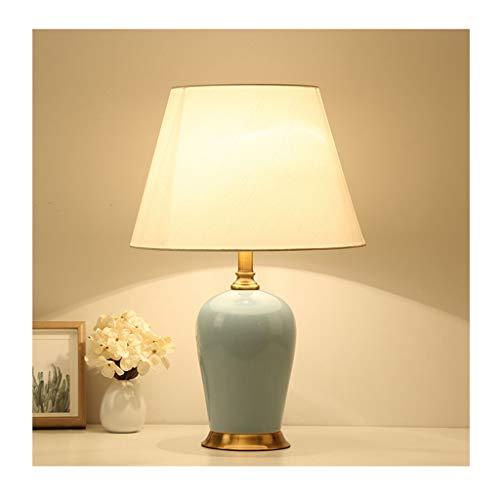 Lampe de bureau en céramique salon chinois décor tissu abat-jour chambre lampes de chevet