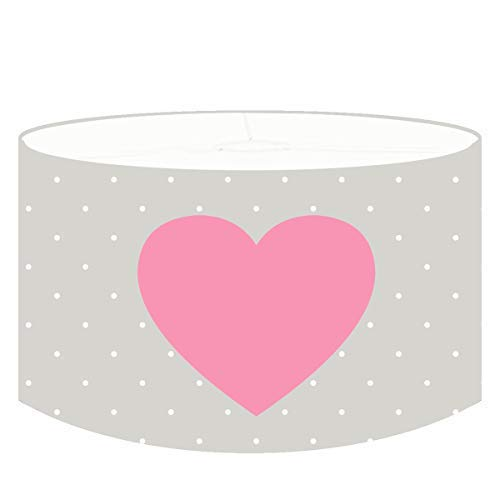 Dannenfelser - Kinderzimmer Hängelampe Kinderlampe HEARTROSE Lampenschirm Textil grau - weiß gepunktet, Motiv 2x: Herz rosa, inklusive Kabel und Deckenaufhängung, Babyzimmer Lampen Ø 35cm #15308 -