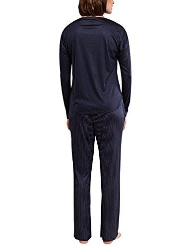 Schiesser Selected Premium Anzug Lang, Ensemble de Pyjama Femme Noir - Schwarz (blauschwarz 001)