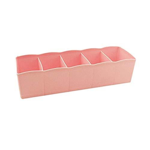 erthome Kunststoff Kosmetik Organizer Aufbewahrungsbox 5 Slot Krawatte BH Socken Schublade Divider Tidy (10.63x2.56x3.35 inch, Rosa)