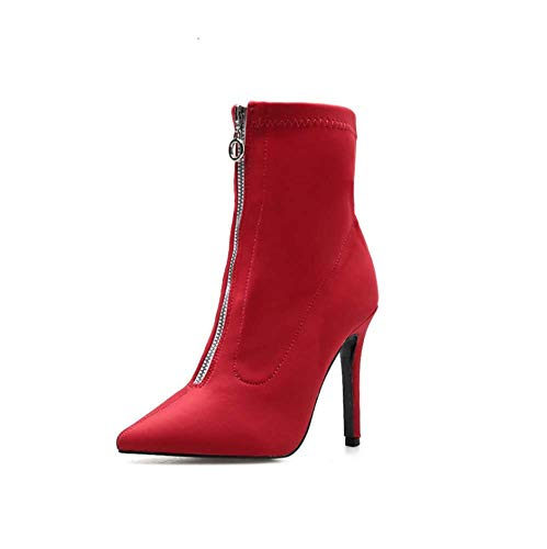 Frauen Boots Ladies Zipper Pointed Toe Stiletto Red Black High Heels Sexy Ankle Frauen Stiefel Party Shoes Platform Faux Lace Boots,Rot,35EU -