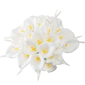 HUAESIN 20Pcs Flores Artificiales Látex Calla Lily Nupcial Flores de Plastico Lirios Blanco Artificiales Callas Tacto…