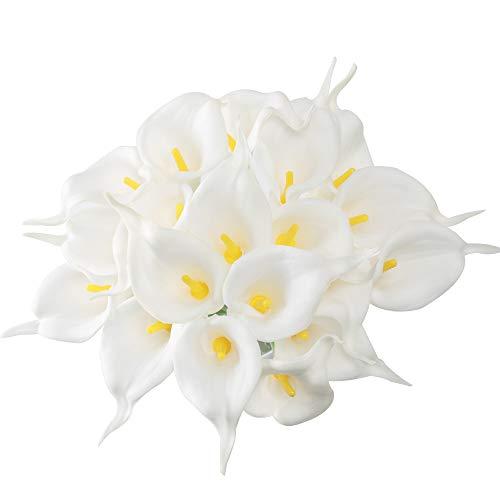 Künstlich Blumen Weiss Kunstblumen PU Gefälschte Unechte Blumen Brautstrauß Calla Lily für Hochzeit Küche Garten Tisch Mitte Dekoration ()