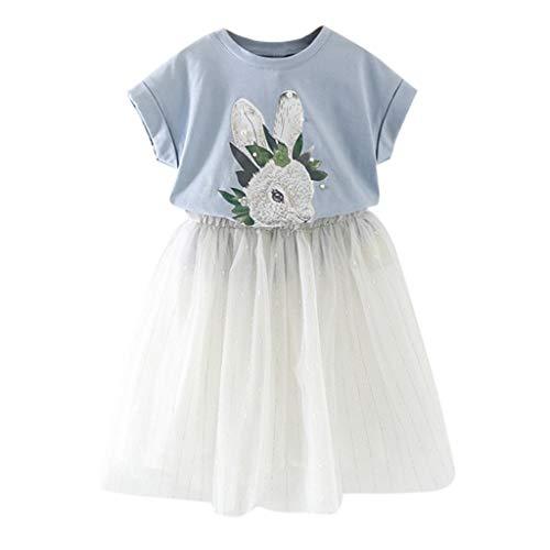 Leadmall Baby Clothes Tüll-Kleid für Kleinkinder, Mädchen, niedliches Kaninchenmuster, kurzärmliges Oberteil und weiße Halbröcke, 2 Stück (Kleinkind-outfits Niedliche)