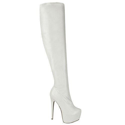 Damen Overknee-Stiefel mit Stretchanteil - High Heels Aus Kunstleder - Matt-Weiß PU-Stretch - EUR 44 -