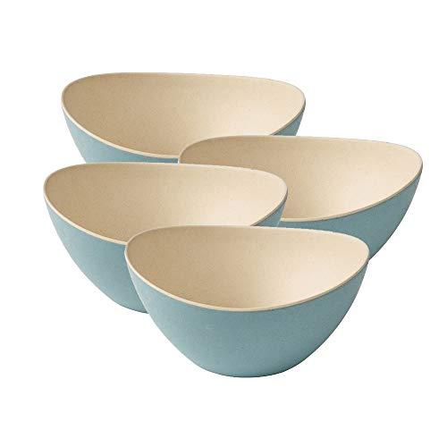 BIOZOYG 4 tazónes de Cereales Coloridos Hechos de bambú I ensaladera Reutilizables, respetuosos con el Medio Ambiente, sin BPA I tazón Conjunto Ovalado de 14 x 15,5 cm Natural Blanco Azul