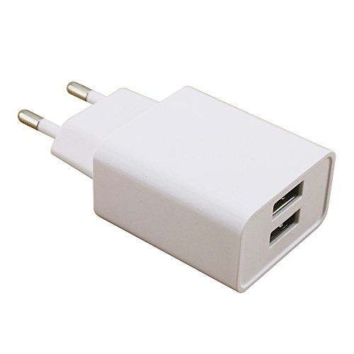 2 Port Wall (RealPower 2-Port wall charger, 2 Port USB Ladestation/wall charger mit 2,1A, für iPhone, iPad, Samsung Galaxy / Note/ S9, HTC, LG, Smartphones, Tablets, Powerbanks und weitere (Weiß))