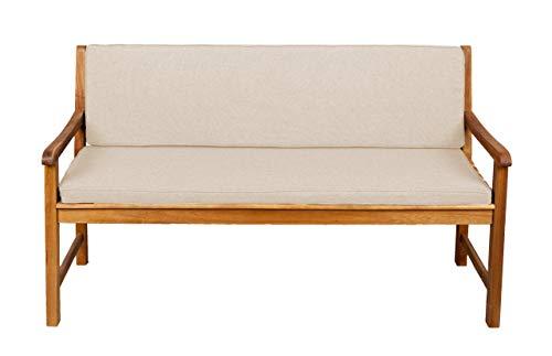 Bankauflage Für Hollywoodschaukel Set Glatt Sitzkissen + Rückenlehne FK5 (130x60x50, Creme)