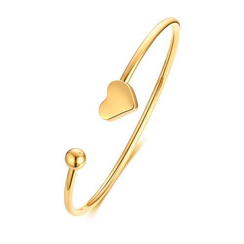 MHOOOA Armband Armreif Elegante Manschette Armbänder Armreifen für Frauen Gold Ton Edelstahl Sterne Herz Liebe Charme Pulseira Dia 2,36
