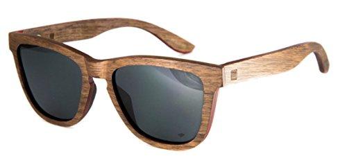 WOLA Damen Herren Sonnenbrille Holz AERO eckige Brille starke Brücke Vollholz Nuss Linse grau Unisex Damen L - Herren M