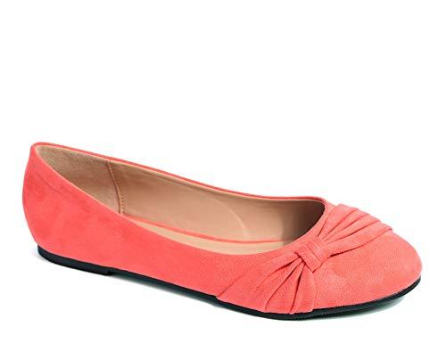 MaxMuxun Damen Geschlossene Ballerinas Flache Loafer Weiche Ballett Schuhe Koralle Größe 41 EU