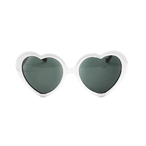 HuaYang mit niedlichen, übergroßen und Herz-Sonnenbrille Brille Retro, Kunststoff, Weiß