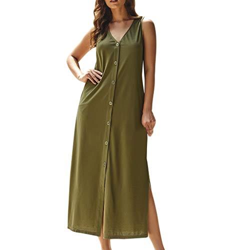 mounter- Damen Maxi-Tankkleid, V-Ausschnitt, ärmellos, mit Knopfleiste Gr. Medium, Armee-grün (Sexy Cop Stiefel)