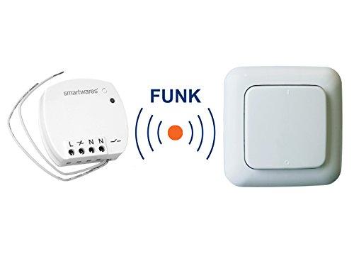 Funk Schalter Set = Mini-Funk-Einbauschalter + Funk-Wandschalter, für Leuchten und Geräte bis max. 1000W