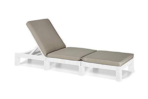 Keter -  Tumbona de jardín exterior Daytona con cojín incluido, Color blanco