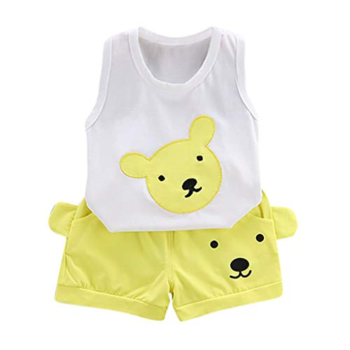 Cuteelf Baby 2 Stück Bekleidungsset Herbst, Neugeborenes Baby Jungen Mädchen Elefanten Gestreift Print T-Shirt Tops Set Kleidung