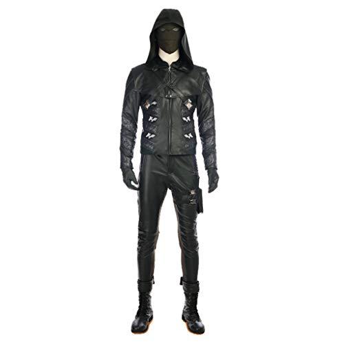 nihiug Pfeil 5. Staffel, Prometheus Cosplay Kostüm grüner Pfeil cospay Halloween Kostüm,Black-L