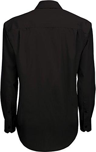 B&C Smart Poplin Herren Hemd, Langarm (S) (Schwarz)