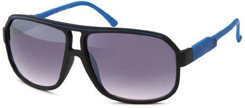 Sense42 Retro Sonnenbrille Two Tone Blau Schwarz, flexiblen Federscharnier Bügeln, Nerdbrille Damen Herren Unisex mit Brillenbeutel (Wayfarer Two Tone Sonnenbrille)