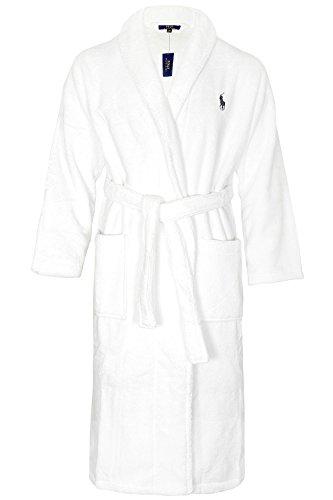Polo Ralph Lauren Herren Shawl Robe White Bademantel, Weiß 003, Medium (Herstellergröße: S/M)