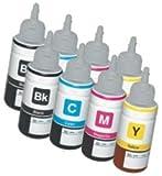 [2X Set] 8 Cartuchos de Tinta compatibles para EPSON EcoTank ET-2500 ET-2550 ET-2600 ET-4500 ET-4550 ET-14000 L120 L200 L210 L310 L350 L355 L365 L555 L1300 | Botellas 70ml T6641 T6642 T6643 T6644
