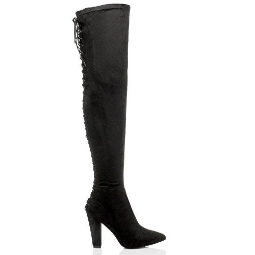Femmes haut talon bloc corset arrière lacer bout pointu cuissardes bottes pointure Noir