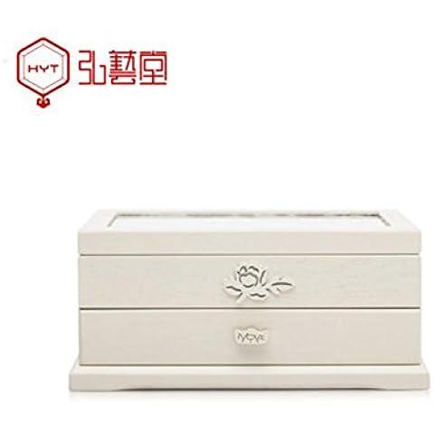XYXY HYT Portagioie in legno Extra-Large / Jewel Case mobile armadio anello Necklacel regalo Storage Box Organizzatore (Beige) . c