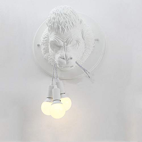 AOKARLIA Dekorative Wandleuchten Hintergrundwand Wandlampe Kreativ Gorilla entworfen Gangflurlicht, Wohnzimmerlicht, Schlafzimmer Beleuchtung, Nachttisch Lampe - 3 Kopf,White (Birne-installer)