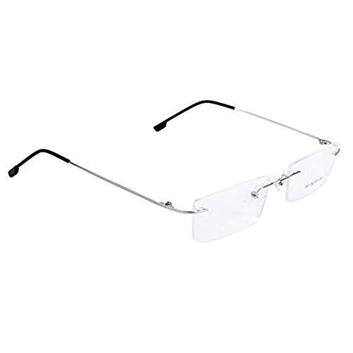 Runfon Silbermetall randlos Brillenrahmen 1 montiert aus premium Material