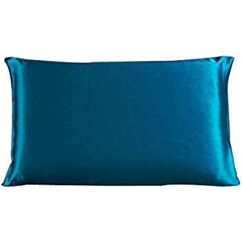 Dehman 100% Pure Mulberry Charmeuse Silky Satin Silk Pillowcase Pillow Case Cover for Hair & Skin 19 Momme (1Piece) (Peacock Blue, Toddler Size,12X19 INCHES)