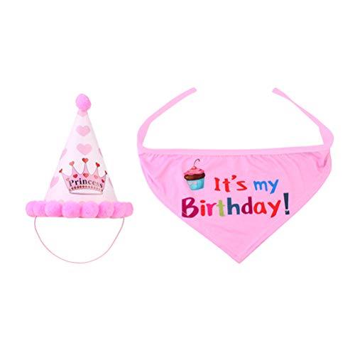 POPETPOP Cappello Compleanno Cane con Bandana Cane per Piccolo Cani 2 Pezzi (Rosa)