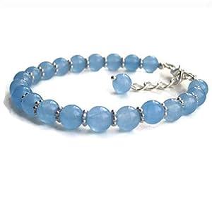 Handgefertigte Aquamarin Armband, Silber Perlen Armband Geschenk