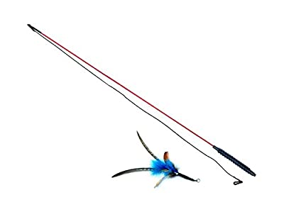 """PurrSuit Feather Cat Toy LONG Safer Plastic clip UK made 39"""" Interactive Wand"""