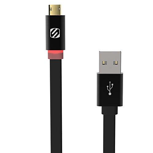 Scosche Klinkenstecker LED Micro-USB Kabel (USB A, Micro USB B, Stecker/Stecker, gerade, glatt, schwarz) Scosche Usb