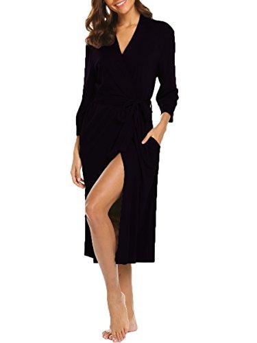 Damen Morgenmantel Kimono Lang Bademantel Schlafanzug Negligee Nachthemd Nachtwäsche Unterwäsche V Ausschnitt mit Gürtel (Schwarz M) -