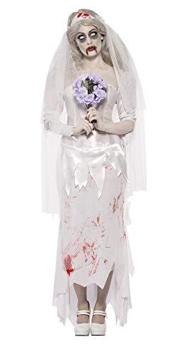 Smiffys, Damen Zombie-Braut Kostüm, Kleid, Schleier und Bouquet, Größe: L, 23295 (Zombie Braut Und Bräutigam Kostüm)