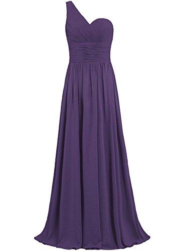 Azbro Women's Elegant One Shoulder Slim Fit Prom Dress Deep Purple