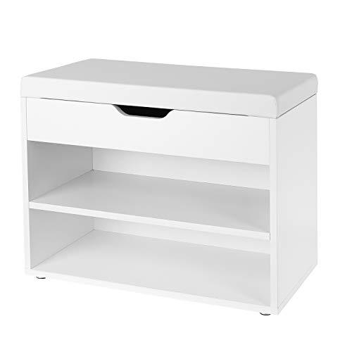 Homfa Schuhbank mit Sitzfläche Sitzbank Flur Schuhregal weiß Schuhablage aus Holz 60x29.5x48cm