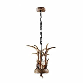 MeloveCc Chandeliers Creative Household Lighting and Chic Personality and The Bedroom Restaurants Bars Lamps American Rural Style Resin Antlers Small 25 * 38Cm