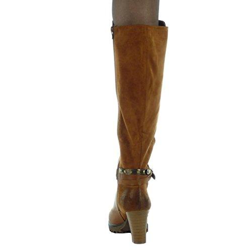 Angkorly - Chaussure Mode Botte motard cavalier bi-matière femme lanière boucle lanière Talon haut bloc 8 CM - Intérieur Fourrée Camel