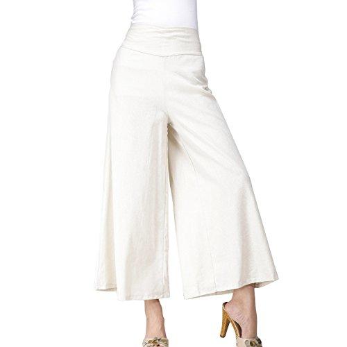 Feoya Damen Casual Weite Bein Hose Sommer Elastische Taille Hosenrock Baumwolle Lang Hose (Ziehen Bein Weites)