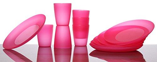 idea-stationNeo –Set de vajilla para fiesta, 12piezas, compuesto de 6platos de plástico y 6vasos de plástico, rosa, Redonda, apilable, Vajilla perfecta para fiestas infantiles, vasos para Fiestas, platos para fiestas, apto para lavavajillas 1