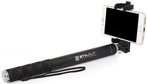 StilGut Selfie Pro – Selfie-Stick téléscopique Compatible avec iPhone, Samsung, Huawei, GoPro en Aluminium Noir (Version 2)