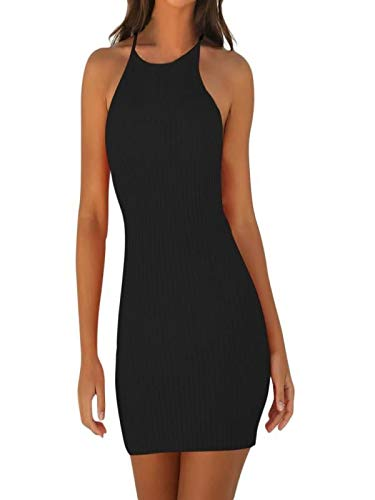 Flapper Kostüm Sexy Klassische - Xiangdanful Damen Sexy Wickelkleid Spaghetti Strap Sommerkleid Ärmellos Einfarbig Bodycon Minikleid Schulterfrei Party Cocktailkleid Bleistftkleid Etuikleid Ribbed Rock Tank Tops (XL, Schwarz)