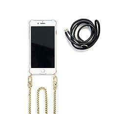 Jalouza Kette + Kordel, kompatibel mit iPhone 7/8, Handyhülle zum Umhängen mit Edelstahlkette (120cm*0,8cm)