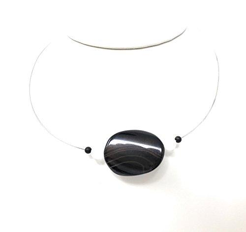 MB Schwarz-Weiß-Schmuck Onyx (=O) mit Bergkristall (=B) (Verschluss:silberfarben) (SW-Kollier 2 O 2B Achat)