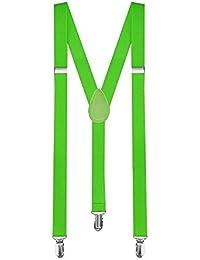1 Tirantes Elásticos Ajustable Para Pantalones Y-diseño Clip hombre mujer niño verde