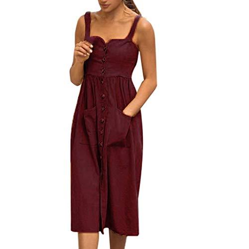 Auied Damen Retro V-Ausschnitt Hohe Taille Kleid Trägerlos Einfarbig Kleid Frühling Sommer ()