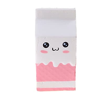 Pizies Squishy Toys, Jumbo Slow Rising Squishies, Milk Bottle Stress Relief Super Soft Cute Smiley Milk Box, Scented, 12CM, Pink